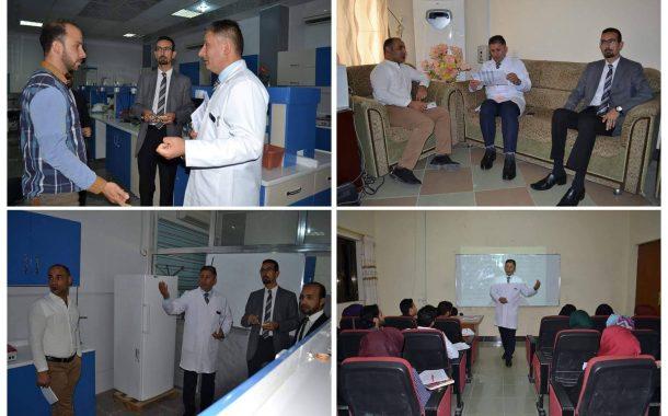 السيد عميد كلية العلوم الاستاذ المساعد الدكتور حسين جابر عبد الحسين في جولة في اروقة قسم علوم الحياة
