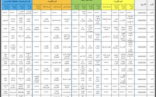 جدول الأمتحانات النهائية الإلكترونية للدور التكميلي الثاني